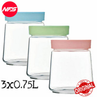 Luminarc Pot Swing 0.75 L Set 3 pcs Cookies Jar/Toples Kue Kaca P8593