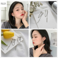 Anting Wanita Korea Tusuk Rantai Silver Rumbai Wanita 05