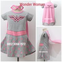 Baju Dress Kostum Superhero Girl Anak Perempuan Wonder Woman 3-9 Tahun