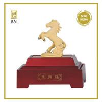 Patung Shio kuda lapis emas Pajangan Shio kuda Hadiah Premium