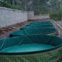 Kolam Terpal Bulat Fullset Diameter 5m .Tinggi 1,2 m, kolam bioflok