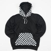 Pullover Hoodie Jumper Square Checkeredboard Pocket Fleece Black
