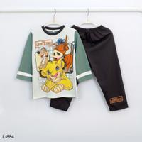 Baju Tidur Setelan Panjang Panjang Lion King L-884 / PTP size 8-10-12 - Size 8