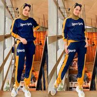 Baju Kaos Training / Setelan Training Olahraga Wanita SPORT GIRLS IJ - Navy