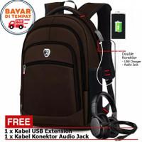 Tas Polo Power Original Backpack USB Tas Kantor Pria Ransel Laptop USB - Cokelat