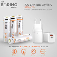 MY BORING USB Rechargeable AA Li-ion Baterai + Wall Charger High Speed