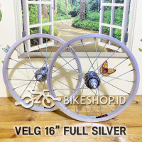 Wheelset Velg Silver Uk.16 Alloy Depan Belakang Rims Roda Sepeda