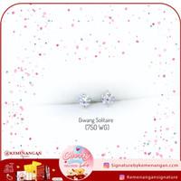 Giwang/Anting Emas Putih Solitaire Zircon/Swaroski Kadar 750