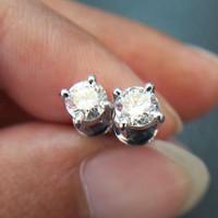 Giwang Anting Wanita Asli Emas Berlian Eropa 0,20 Ct Natural Diamond