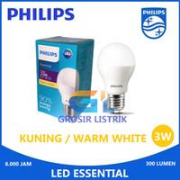 Lampu Philips LED Essential 3W Kuning Warm White (3 Watt W) Grosir