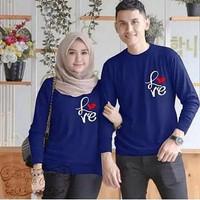 Baju Couple Pasangan | Baju Kaos Couple Cowok Cewek ZETTA FF - Navy