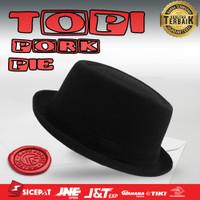 Topi BORDIR Pork Pie Fedora hat bulat Glen Fredly Mafia FREE BORDIR - tanpa kardus