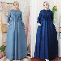 Baju Gamis Wanita Jeans Denim Maxi Long Dress Muslim