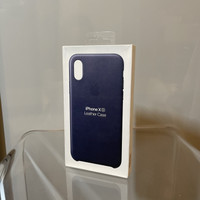 Casing Apple iPhone XS Official Leather Case Midnight Blue - Original