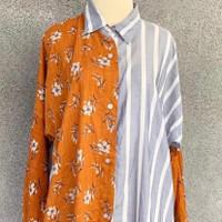 Long shirt bunga coklat garis biru