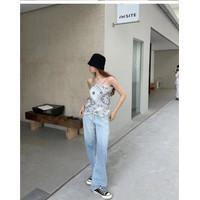 scarf tank top wanita import / baju atasan pantai premium / casual top