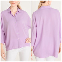 Atasan Kemeja Wanita Big Size Chicos Sheer Collared Shirt - Icy Purple