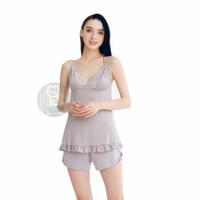 Lingerie Nightwear Sexy Cotton Premium Baju Tidur Seksi (Size L or XL) - Abu-abu, XL