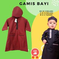 Baju Muslim / Baju Gamis Bayi Laki Laki Usia NB - 2 Tahun Katun Toyobo - Cokelat Muda, XS