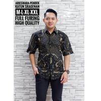 Baju Batik Cowok Lengan Pendek Kemeja Batik Solo Premium Modern Atasan