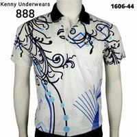 Kaos Kerah Pria Miller Neuman 44 Import Motif Batik Biru