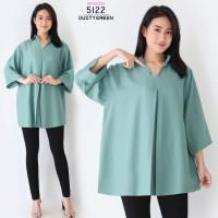 Kemeja Hem Atasan Wanita Jumbo Lengan Panjang VNeck Baju Big Oversize