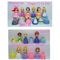 Princess Frozen Sofia Ganti Baju 6 Figure 12 Dress Mainan Topper