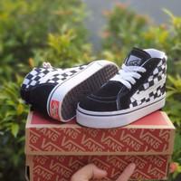 Sepatu anak VANS SK8 CATUR TALI BLACK WHITE / FREE BOX & KAUS KAKI /