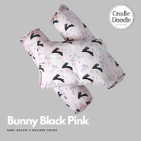 Baby pillow set SOFT (newborn) with organic cover Bunny Black Pink