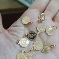 Liontin bandul kalung koin queen elizabeth emas asli gold coin 375 ubs
