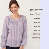 LC 301 Boho Square Lavender Top Baju Atasan Blouse Wanita Branded