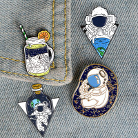 1 Set isi 4 Bros Pin Enamel Astronot Astronaut Outer Space