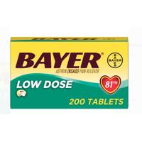 Aspirin Regimen Bayer Low Dose, 81mg 200 tab