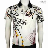 Kaos Kerah Pria Miller Neuman N44 Katun Import Motif Batik Kuning