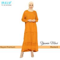 PUGLY Fashion | Gamis Premium Yasmin Maxi Dress - Mustard, Fit to L