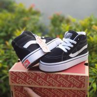 Sepatu anak VANS SK8 HI TALI BLACK WHITE / FREE BOX & KAUS KAKI /