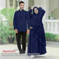Baju Couple Gamis Muslim Sarimbit Baju Koko wanita Lengan Panjang Navy