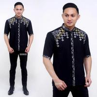 Baju Koko Pria Lengan Pendek Kombinasi Batik Bordir M L XL XXL