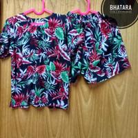 Setelan Baju Pantai Anak Laki-Laki Cowok Rayon Bali Hitam 1-2 Tahun