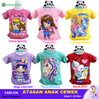 Pakaian Baju Kaos Atasan Anak Perempuan Cewek usia 1-10 tahun Murah
