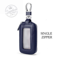 Dompet Remote Kunci Mobil Keyless Car Remote Leather Holder K8 K9 - SINGLE ZIPPER, BLUE