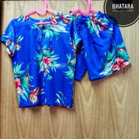 Setelan Baju Pantai Anak Laki-Laki Cowok Rayon Bali Biru 1-2 Tahun