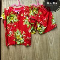 Setelan Baju Pantai Anak Laki-Laki Cowok Rayon Bali Merah 1-2 Tahun