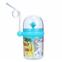 Botol minum anak lumba air mancur + tali panjang - Biru