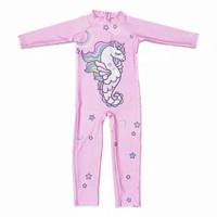 Baju Renang One Piece Lengan Panjang Motif Print Unicorn one pieces - Pink Unicorn, XXL