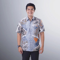 Baju Batik Pria Lengan Pendek Semy Tulis Modern Exclusive Casual BMP04 - Putih, S