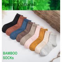 KK57 Koas Kaki Wanita Serat Bambu Candy Solid Color Bamboo Socks