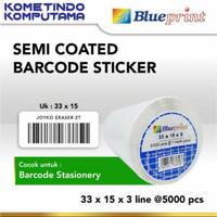 Sticker label Barcode 33x15mm 3 Line Semi Coated BLUEPRINT isi 5000Pcs
