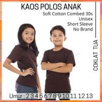 Kaos Polos Anak Lengan Pendek Cotton Combed 30s 2-13 Tahun Coklat Tua