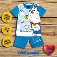 Loveumom Baju Setelan Anak Laki Laki Murah Doraemon Putih 1-10 Tahun